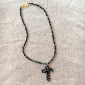 Black Oil Cross Necklace