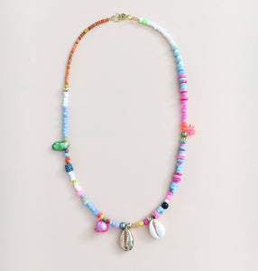 Turquoise & Pink Beaded Necklace