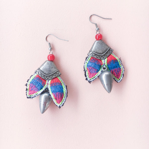 Woven Earrings - Red & Green