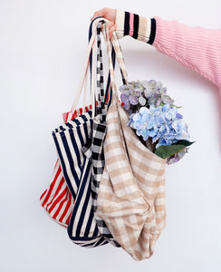 Gingham Tote Bag - Beige
