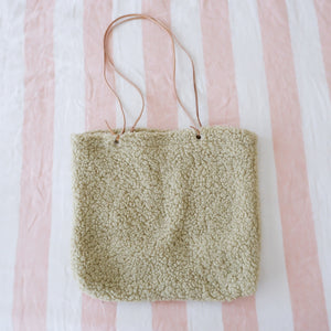 Pale Green Teddy Tote Bag