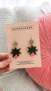 Star Earrings - Gold, Olive Green & Pink Coral