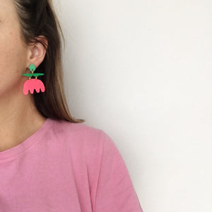 Maeve Earrings - Green & Pink