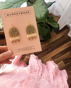 Petal Earrings - Gold & Cream