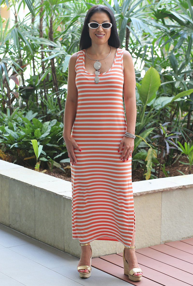 5096 Haiden Dress - Orange Stripe