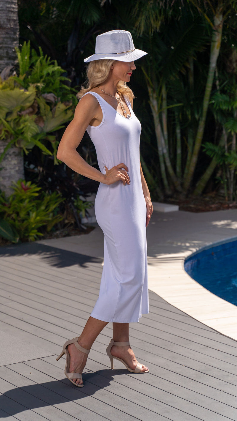 5096 Slim Singlet Dress - White