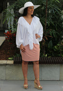 5114 Tube Mini Skirt - Orange/White