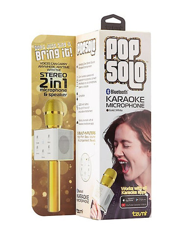 PopSolo Bluetooth Karaoke Microphone - Gold | White