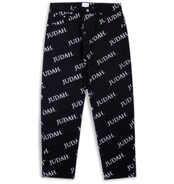 ALL OVER PRINT STRAIGHT CUT PANTS BLACK