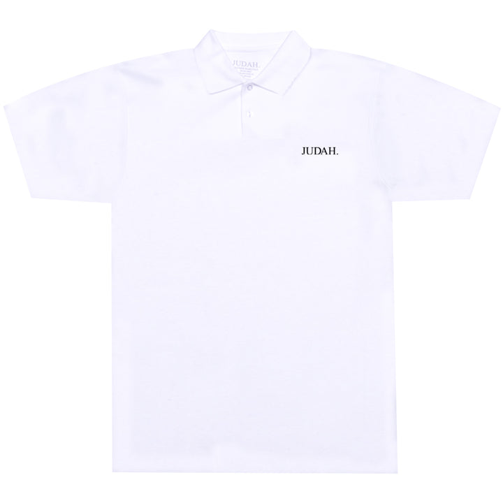 JUDAH. EMBROIDERED POLO SHIRT WHITE