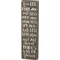"Primitives by Kathy® Box Sign ""fear LESS ... will BE Yours..."""
