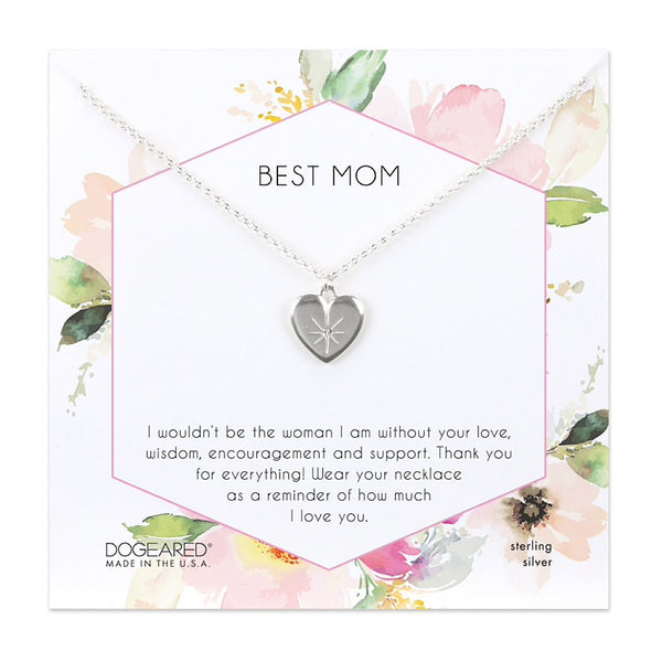 Dogeared® Sterling Silver Best Mom Heart Necklace