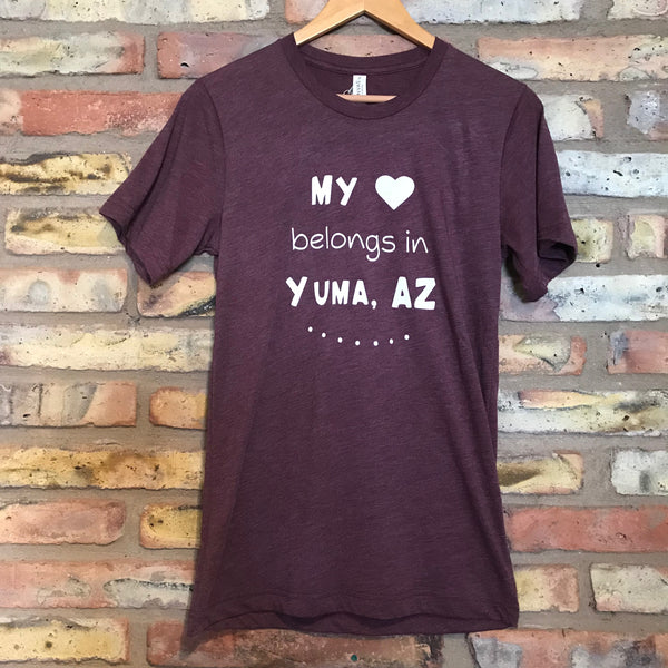 Paper Cow™ My heart belongs in Yuma, AZ Adult Tri-Blend Adult Tees