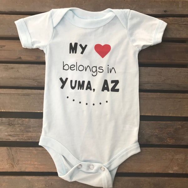 Paper Cow™ My heart belongs in Yuma, AZ - Tri-Blend Onesie Bodysuit