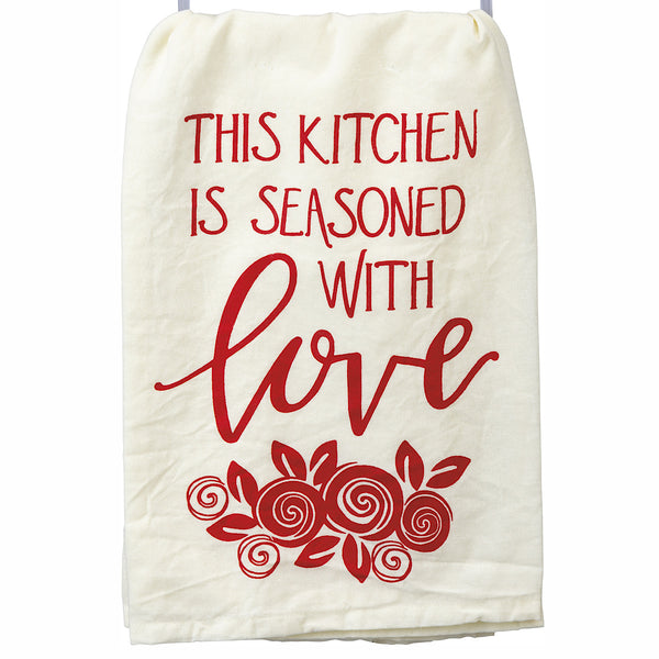 "Primitives by Kathy® Dish Towel ""This Kitchen is Seasoned with Love"""
