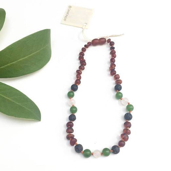 Canyon Leaf™ Baltic Amber + Jade + Lava Stone Teething Necklace