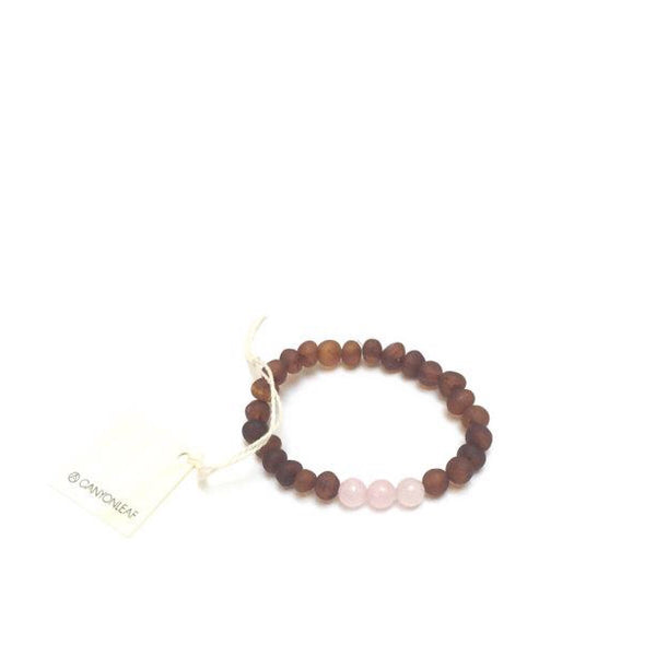 Canyon Leaf™ Baltic Amber + Rose Quartz Teething Bracelet | Anklet