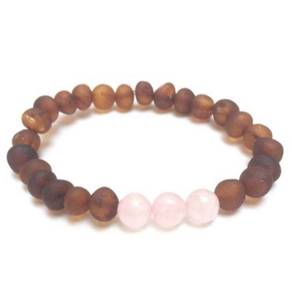 Canyon Leaf™ Baltic Amber + Rose Quartz Teething Bracelet + Anklet