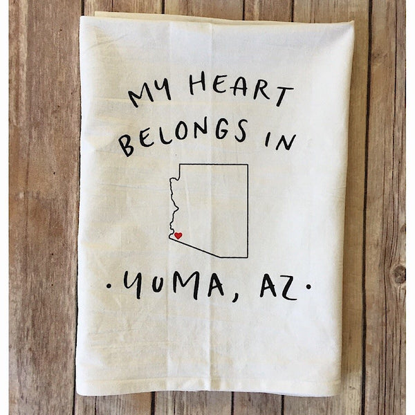 "Yuma Roots™ Dish Towel ""My Heart Belongs in Yuma"""