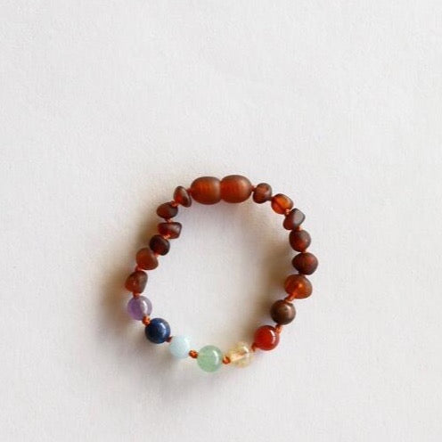 Canyon Leaf™ Raw Cognac and Chakra Crystal Teething Bracelet/ Anklet