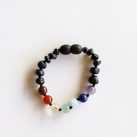 Canyon Leaf™ Raw Black and Chakra Crystal Teething Bracelet/ Anklet