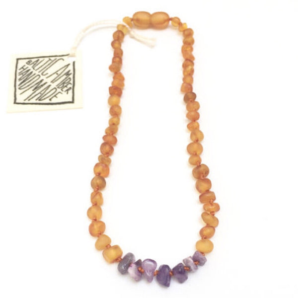 Canyon Leaf™ Baltic Amber + Amethyst Teething Necklace