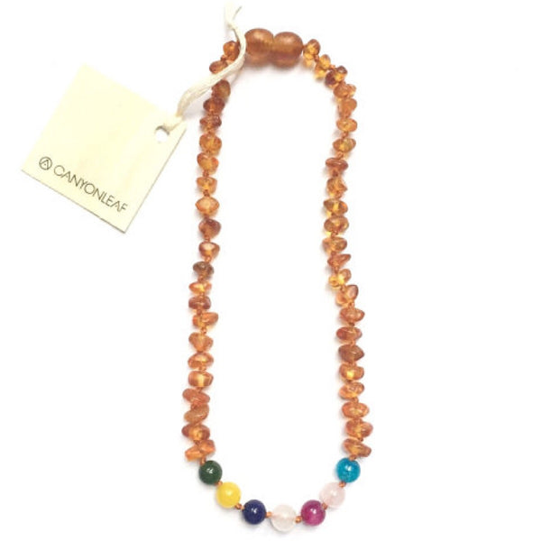 Canyon Leaf™ Baltic Amber + Vintage Beads Teething Necklace