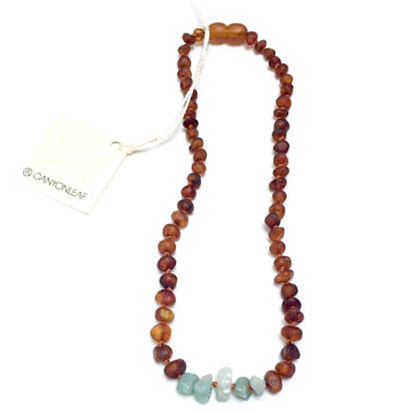 Canyon Leaf™ Baltic Amber + Amazonite Teething Necklace