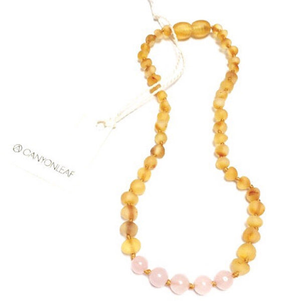 Canyon Leaf™ Baltic Amber + Rose Quartz Teething Necklace