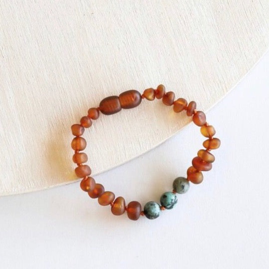 Canyon Leaf™ Raw Cognac Baltic Amber + Raw Turquoise Jasper Teething Bracelet/ Anklet