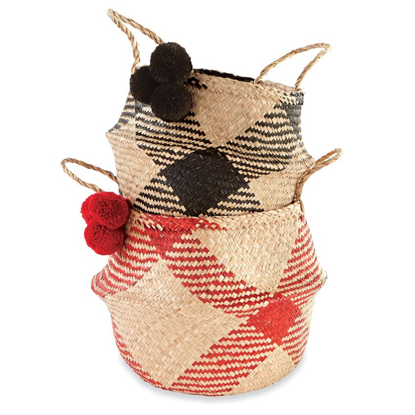Mud Pie® Buffalo Check Woven Basket
