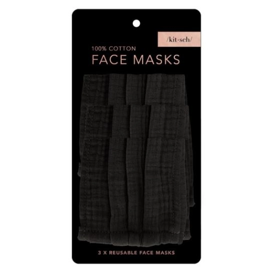 Kitsch® 100% Cotton Face Mask 3 Pack