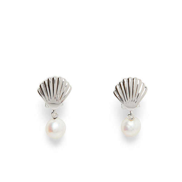Pura Vida® Silver Shell Pearl Earrings