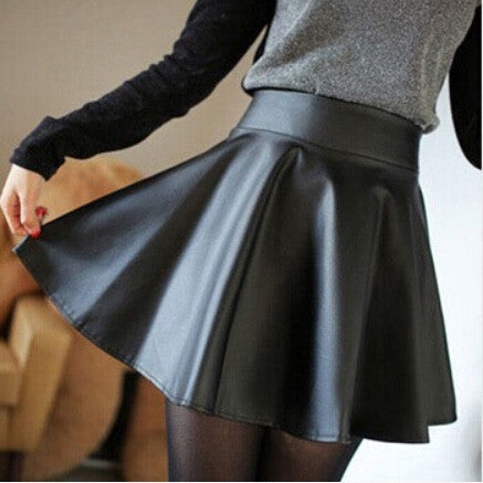 Black Leather Skirt - One Cliq