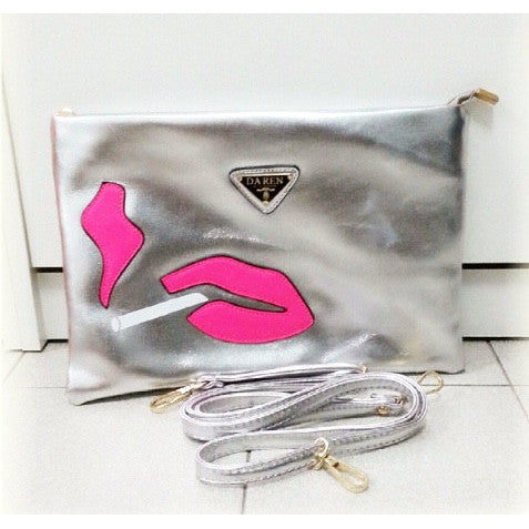 Lip & Cigarette Silver Purse - One Cliq