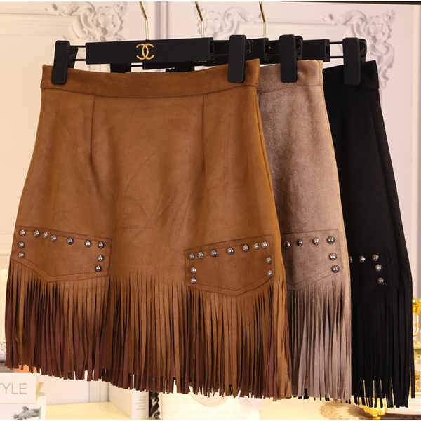 Suede Fringe Skirt - One Cliq