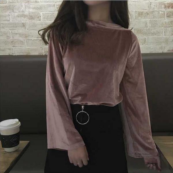 Bell Sleeved Velvet Top - One Cliq