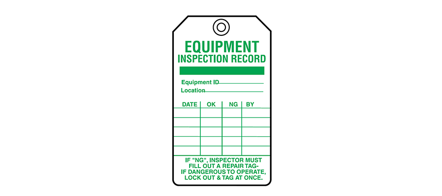 Equipment Servicing Tags