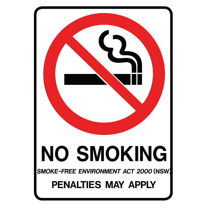 Brady Prohibition Sign (NSW State Specific): No Smoking Penalties May Apply
