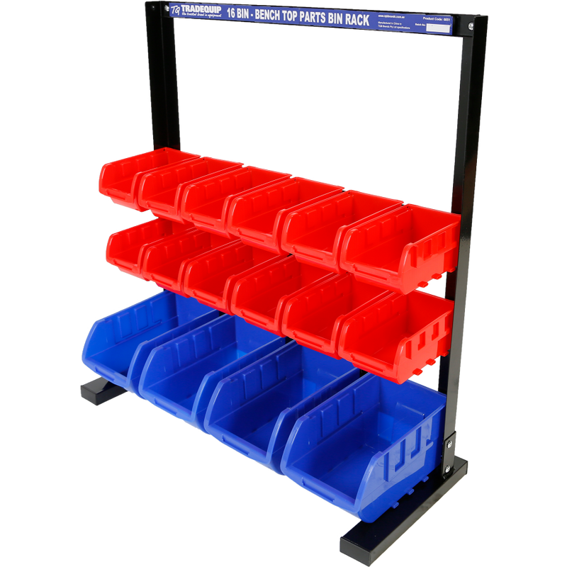 Tradequip Parts Storage Bin Rack 16 Bin 6051