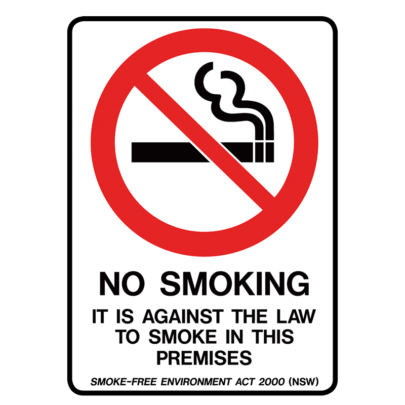 Brady Prohibition Sign (NSW State Specific): No Smoking, It Is Against The Law To Smoke In This Premises