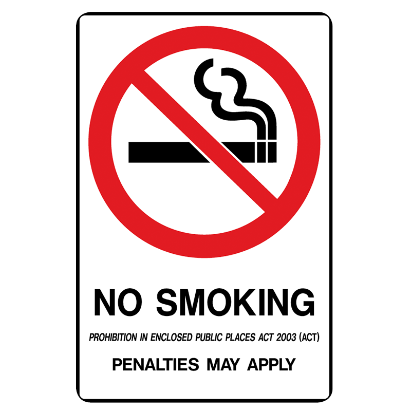 Brady Prohibition Sign (ACT State Specific): No Smoking Penalties May Apply