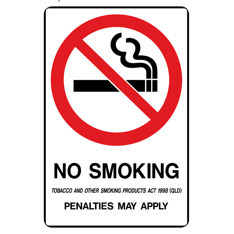 Brady Prohibition Sign (QLD State Specific): No Smoking, Penalties May Apply