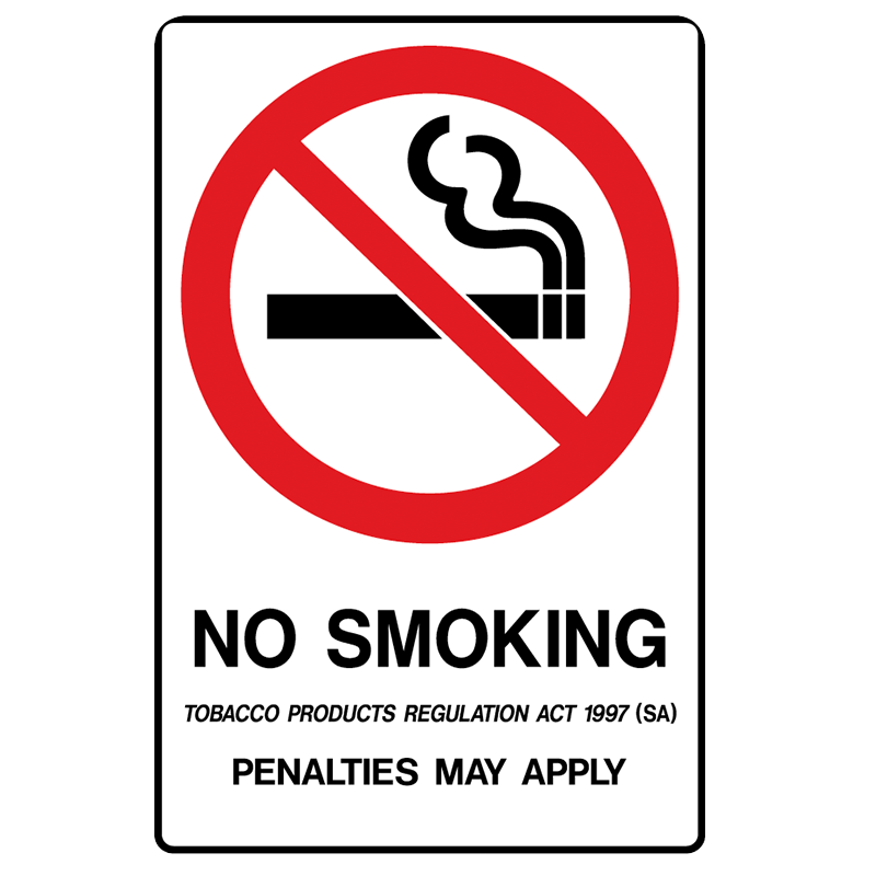 Brady Prohibition Sign (SA State Specific): No Smoking Penalties May Apply