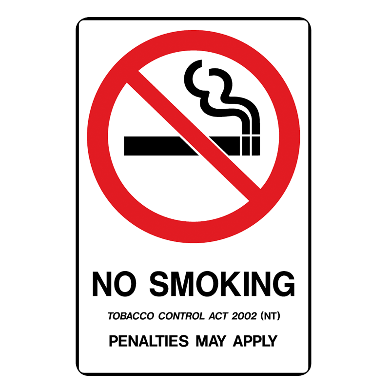 Brady Prohibition Sign (NT State Specific): No Smoking Penalties May Apply