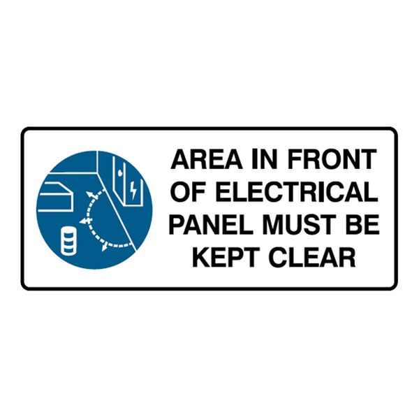 Brady Mandatory Landscape Signs: Area In Front Of Electrical Panel Must Be Kept Clear