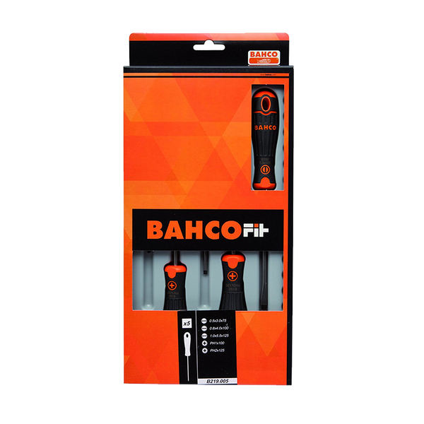 Bahco Screwdriver Set 5 Piece Standard Phillips and Slotted B219.005