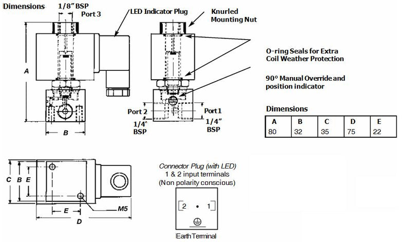 "Dimensions - GO Solenoid Valve 1/4"" S27 304 Stainless 3 Way 2 Position Direct Acting Normally Closed"