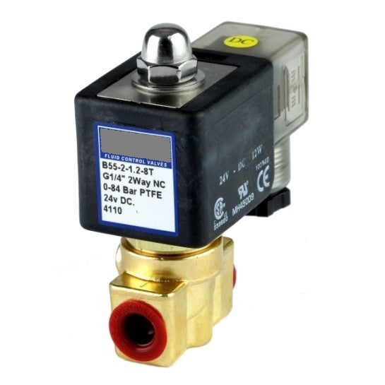 "GO Solenoid Valve 1/4"" B55H Brass High Pressure Normally Closed Range"