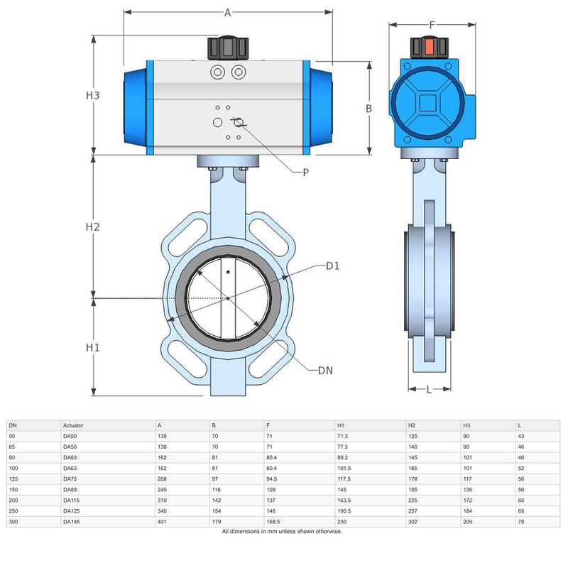 "Dimensions - GO Butterfly Valve Actuated Double Acting Pneumatic CI Body 304 SS Disc EPDM Liner 2"" to 12"" BFKDA Range"